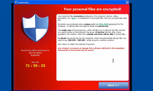 CryptoLocker Ransom Message